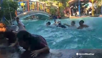 Earthquake causes chaos in swimming pool as kids frantically try to get out