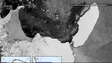 Stunning Timelapse of World's Largest Iceberg Drifting Away from Ice Shelf