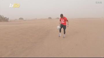 Football Freestyler Kicks Soccer Ball Across the Sahara