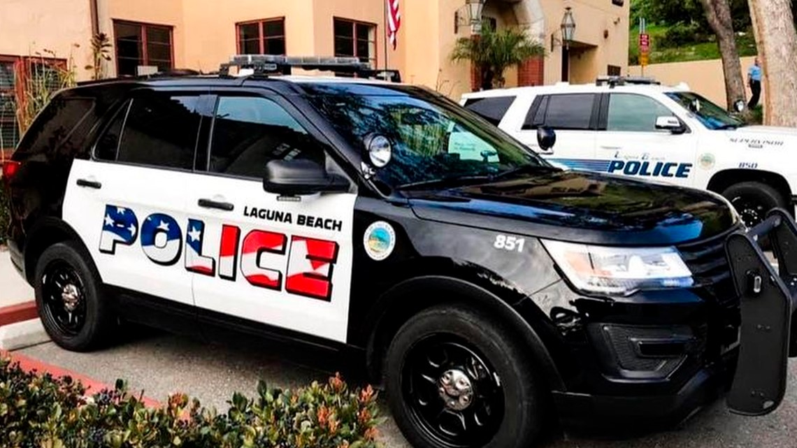American flag logo to stay on police cars in Laguna Beach, California