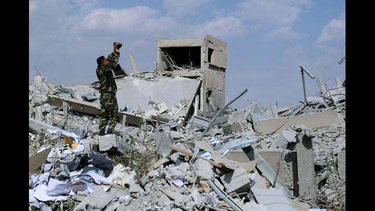разрушенное здание в исследовательском центре Барза