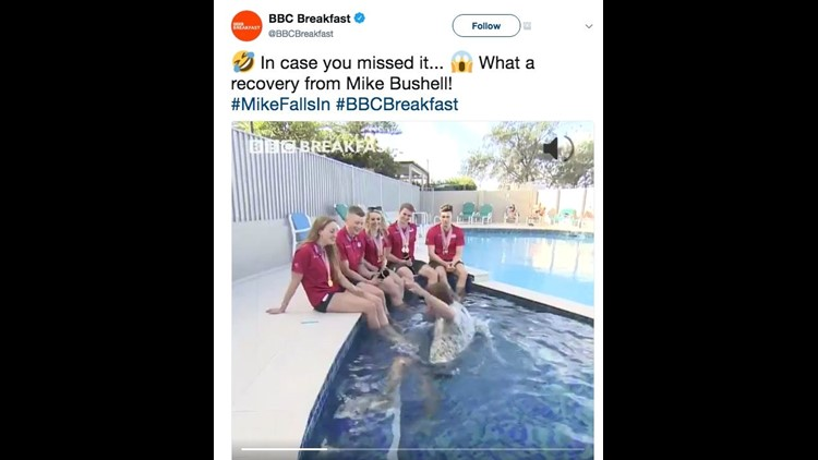 Sports reporter falls into swimming pool during interview