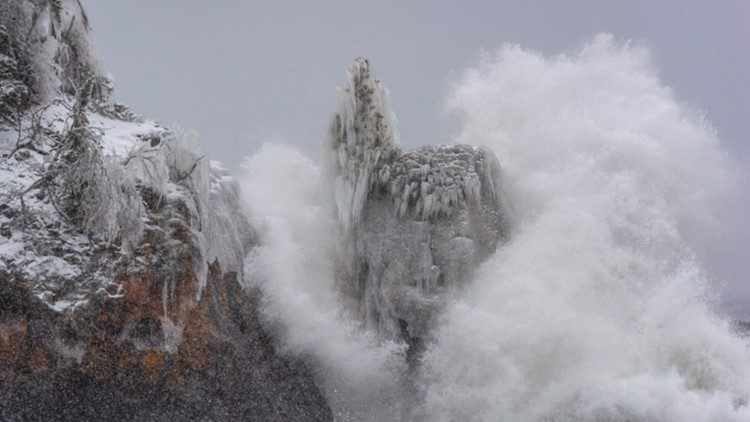 """The """"sea stack"""" weathered many Lake Superior storms before it fell."""
