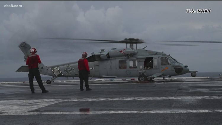 Search and rescue operation continues after Navy helicopter crashes off San Diego coast