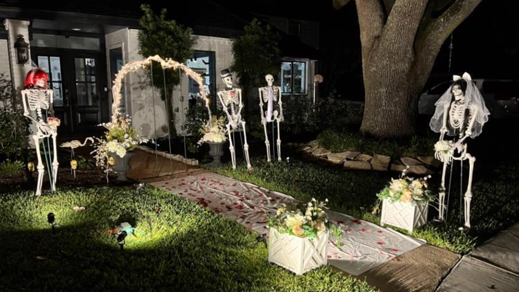 Mr. & Mrs. Bones: Texas homeowner creates Halloween display that changes every day