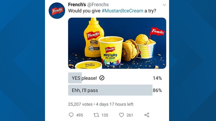 French's mustard ice cream poll shows many people are unsure about the new flavor
