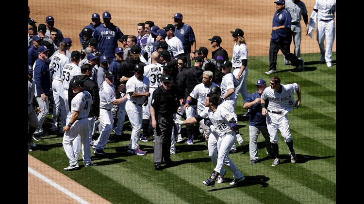 Fists fly in benches-clearing brawl between Padres and Rockies