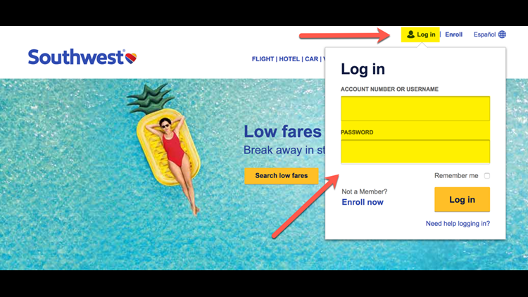 Start by signing into your account at Southwest.com.