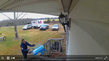 'He throws it' Man's security camera captures FedEx employee throwing package on his doorstep