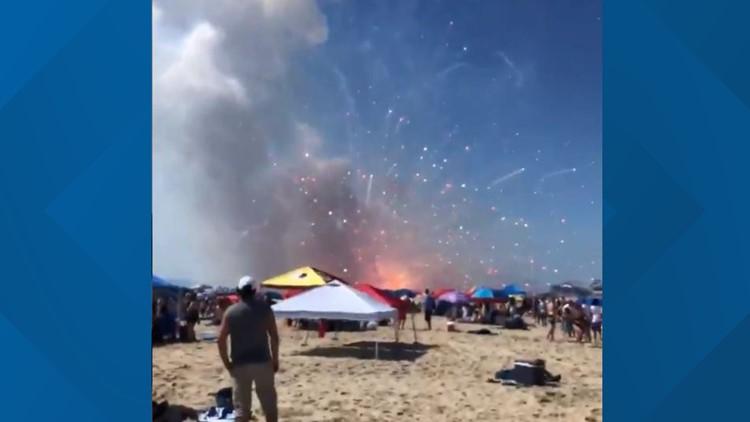 Fireworks accidentally go off on Ocean City, MD beach