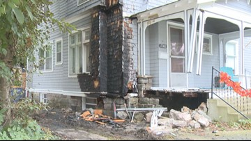 1 person killed after car hits house, catches fire
