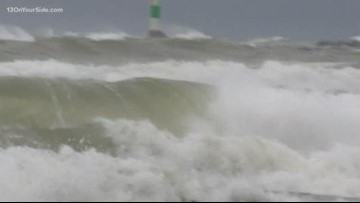 High waves, strong winds pound the lakeshore Wednesday