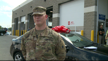 Local businesses surprise veteran with a free car