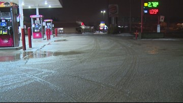 Freezing rain is creating icy conditions on roadways
