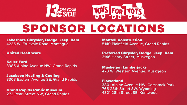 Toys For Tots 2019 sponsor locations