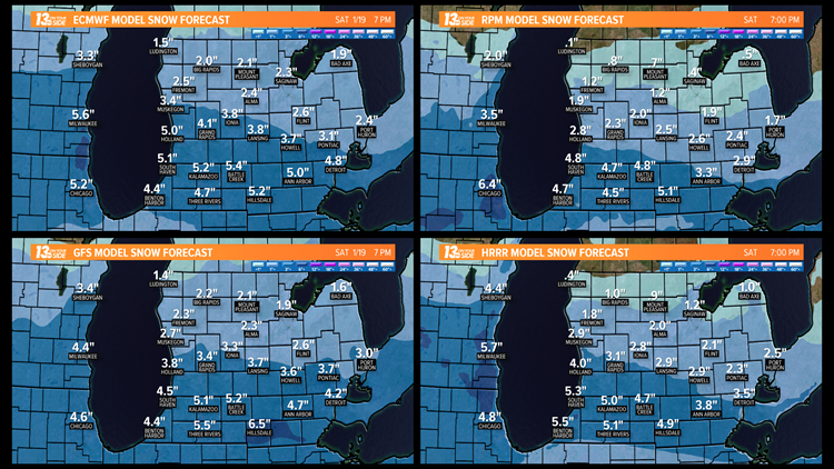 Four Computer Model Snowfall Forecasts through Saturday, January 19, 2019