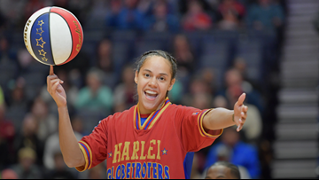 Harlem Globetrotters' Brianna 'Hoops' Green stops by to show off her skills