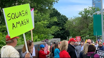 Pro-Trump crowd mobilizes at rally to 'Squash Amash'