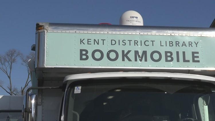 Kent District Library Bookmobile visits mobile food pantries