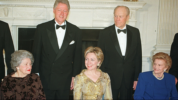 President Clinton and former President Gerald Ford pose for pictures with, left to right, Lady Bird Johnson, Hillary Rodham Clinton and Betty Ford in the State Dinning Room of the White House November 9, 2000 in Washington D.C.