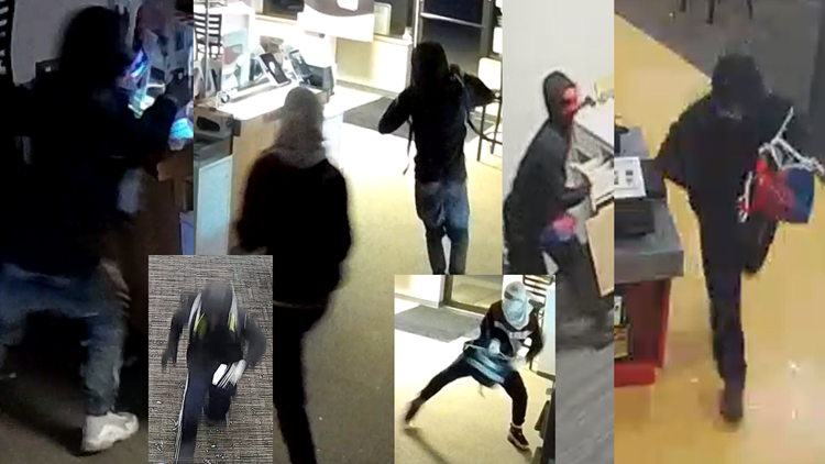 Cell phone store break-in surveillance photos