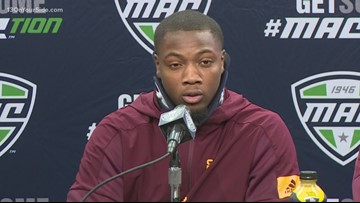Injured Central Michigan University football player supports his team