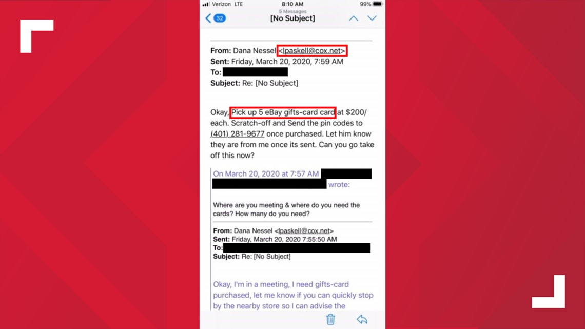 Ag S Office Warns Consumer About Ebay Gift Card Email Scam Wzzm13 Com