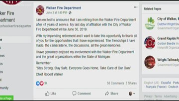 After 41 years of service, Walker's fire chief retires