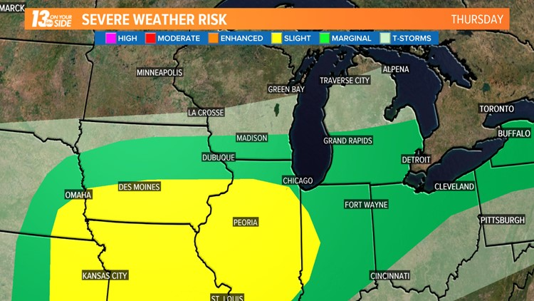 The threat for severe weather will expand further east on Thursday. West Michigan's chances for severe weather will end with a cold front late Thursday night.