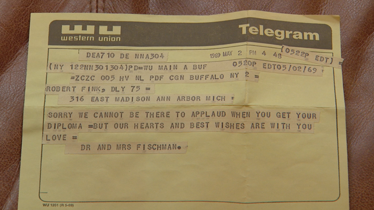 Actual telegram sent to Robert Fink by Ben & Lillian Fischman in 1969.