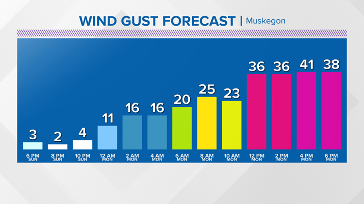 Wind Gust Forecast - Muskegon