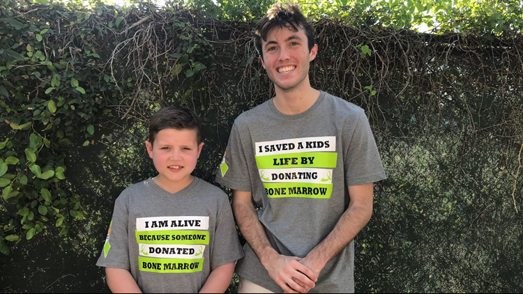 Isaac Walker (left) with his bone marrow donor Bailey Bond (right).