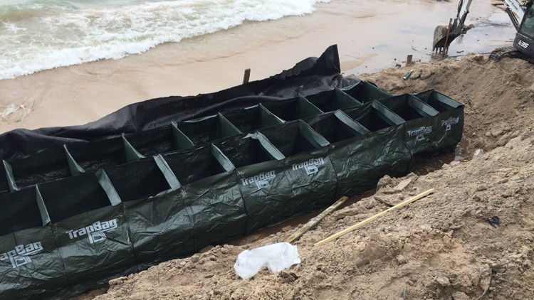 Flood control product deployed to save Lake Michigan cottage from erosion