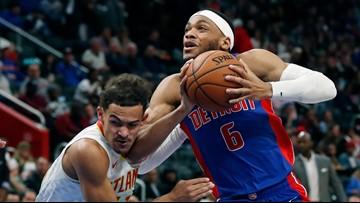 Pistons score 76 in first half, rout Hawks 128-103