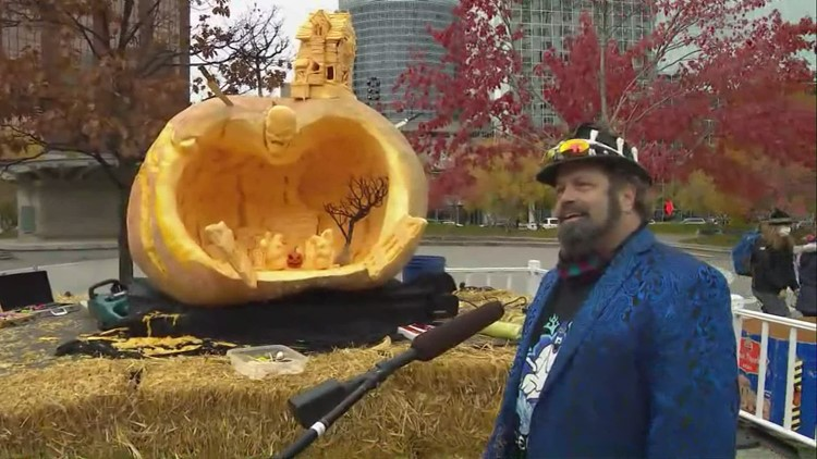 Pumpkin carving event held in downtown Grand Rapids