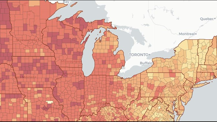 Map Shows Covid 19 Risk For Event Size In Each Michigan County Wzzm13 Com