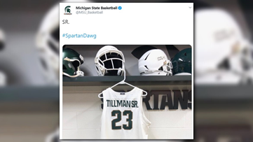 Xavier Tillman changes jersey name after birth of son