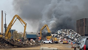 Fire at Walker recycling center produces plumes of black smoke