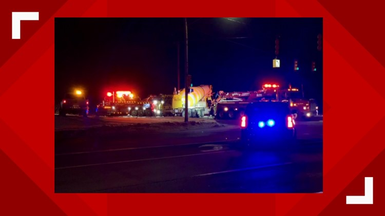 Crash involving cement truck, injures 1, shuts down intersection
