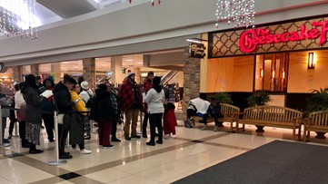 Line forms at Cheesecake Factory hours before official opening Tuesday