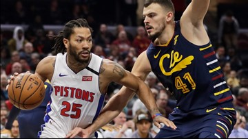 Derrick Rose's late shot leads Pistons past Cavaliers 115-113