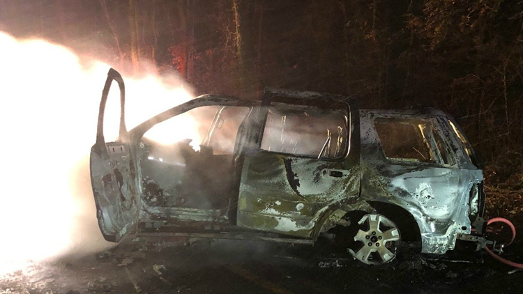 Possible drunken driver cause of car fire