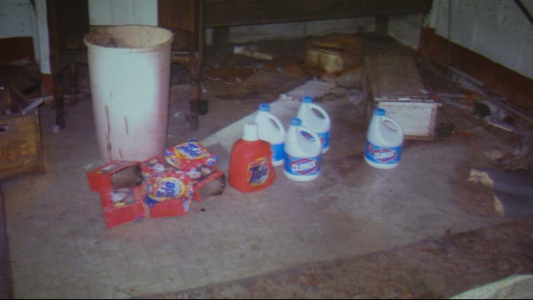 An evidence photo of cleaning supplies found in the house of Jeffrey Willis's late-grandfather is presented in court on Tuesday, May 15, 2018 in the 14th Judicial Circuit Court in Muskegon, Michigan.