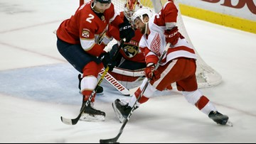 Hoffman has goal and 2 assists, Panthers beat Red Wings 4-3