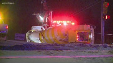 Woman injured in crash with cement truck