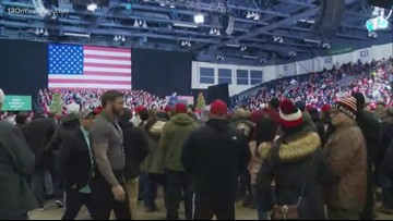 Crowds gathering in Battle Creek for Trump's Merry Christmas rally