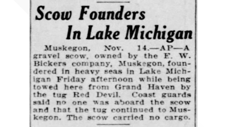 News clipping Muskegon scow