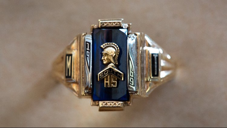 If you look closely, Monique Timmer-Ciofu's class ring from Grand Rapids South High School reads 'South High School Class of 1969'. That class never existed because South closed in 1968. Monique graduated from Union High School in 1969.