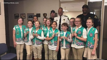 One Good Thing: Girl Scouts deliver packages to police officers