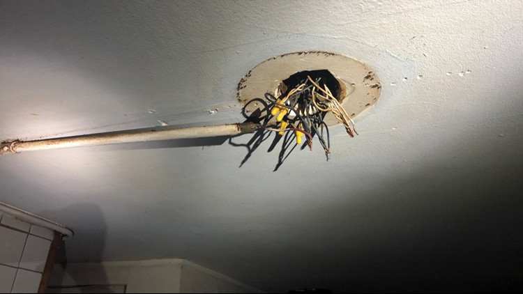 Exposed wires at Muskegon Heights building